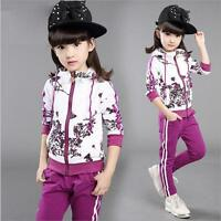 Girl Clothes Jacket Kids Clothing Girl Tracksuit Sport Suit Hoodies+Pants New