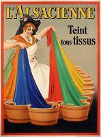 Affiche Originale - Dorfi - Alsacienne - Teinture - Lessive - Belge - 1938