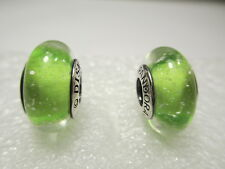 2 Authentic Pandora Silver 925 Ale Disney Tinker Bell Green Murano Beads Charms