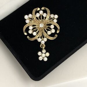 Vintage Brooch Collar Pin Edwardian Victorian Large Statement Paste Neck Modest