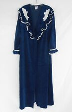 9a43c5cb437 Vintage MAGGIE MCQUADE Blue Velour Robe Ruffled Lace Long Sleeve Pocket M