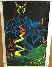 Vintage Black Light Poster The Castle Pro Arts 1971 Blacklite Man Afro Hair 70's
