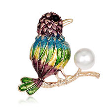 Unique Unisex Jewelry Mixed Color KC Gold Plated Pearl Drip Bird Brooch Pin