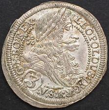 RDR, GROSCHEN, 3 KREUZER 1705 I-A,  GRAZ, STEIERMARK, LEOPOLD I. SILBER