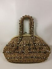 Vtg Gold fabric Mesh Plastic Multi Faceted Beads Evening Handbag Purse