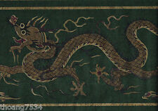 "Chinese Dragon Asian Design Theme Oriental Green Gold 13"" Wide Wallpaper Border"