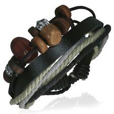 Leather Rope Beads Fashion Adjustable Surf Skater Urban Style Mens Male Bracelet