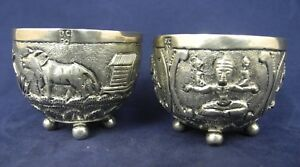 Pair of Vintage Oriental  Silver Repousse Spice footed  Bowl