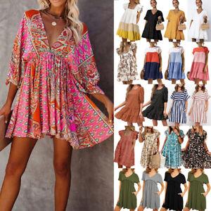 UK Womens Summer Boho Floral Smock Mini Dress Ladies Holiday Beach Sundress S-XL