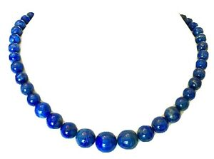 """Jay King DTR Southwestern Sterling Silver Graduated Lapis Bead Necklace 21"""""""