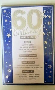 60TH BIRTHDAY CARD BORN IN 1961 EVENTS CARD UNIQUE TO THE YEAR YOU WERE BORN