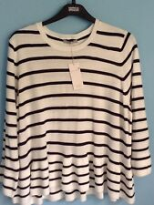 Ladies Jumper M&s per Una Size 22 Ivory Mix Stripes