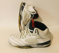 "Air Jordan 5 Retro BG ""White Cement"" Shoes GG8 White/Red 440888-104 Size 7Y"