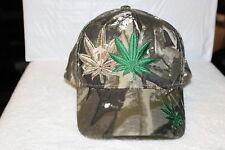 MARIJUANA LEAF LEAVES CANNABIS WEED WITH SHADOW BASEBALL CAP HAT ( CAMOUFLAGE )