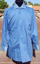 Next Pure Cotton Two-Tone Baby Blue & Navy French Cuff 16/32 Spread Collar Shirt