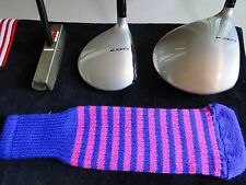 Knitted zebra style Fairway & Driver Golf Club head cover Purple / Ruby Pink