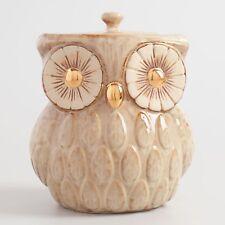 Owl Cookie Jar ~ Ceramic w/Gold Metallic Reactive Glaze, Airtight Lid, Textured