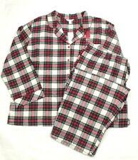 Charter Club Women's Pajama Set Plaids Flannel Notch Collar Top Red Size 3XL