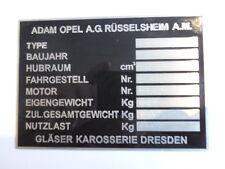 Typenschild Opel Oldtimer Schild Gläser Karosserie Kapitän Admiral