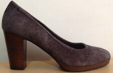 NEW Ladies Clarks Bismer Poppy Textured Brown Leather Shoes UK Size 6 EU 39.5