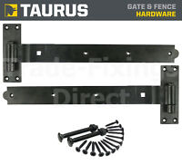 HEAVY DUTY CRANKED HOOK & BAND GATE HINGES BLACK/GALVANISED + FIXINGS