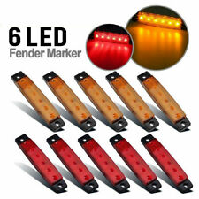 Amber Red 6 LED Side Marker Indicators Rear Light Trailer Truck Van Boat Yellow