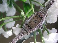 1929 Ladies Art Deco Sapphire Bulova Watch ~ Filigree Band ~ Miss Liberty