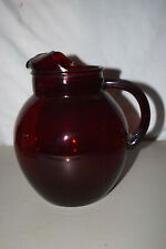 Vintage Depression Glass Pitcher in EXCELLENT condition deep ruby color