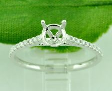 14k Solid White Gold 0.13 ct Ladies Semi Mount Diamond Ring made in USA fit 5mm