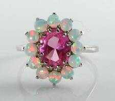 LARGE 9CT WHITE GOLD PINK TOPAZ & FIERY OPAL CLUSTER RING FREE RESIZE