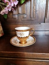 More details for vintage crown devon fieldings white & gold lustre rose coffee cup & saucer