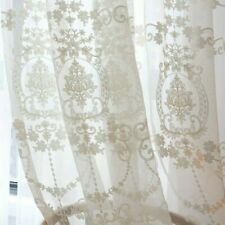 Embroidery Crochet Curtain Fabric Pelmets Lace Tulle Voile Window Panel Drape