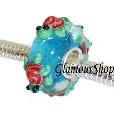 925 Sterling Silver Murano Glass Bead Charm for European Bracelets TORTOISE 025