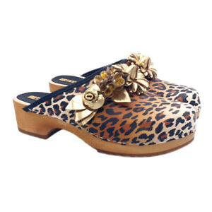 Clogs Women's Netherlands Upper Leopard With Accessory Jewel - MY6433 L