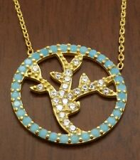 925 sterling silver gold plated  tree of life turquoise  and cz chain neclace