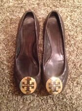 Women's Rare Designer Tory Burch Brown Leather Quinn Reva Quilted Flats, 7.5M