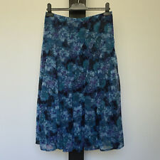 'IQ' EC SIZE '10'BLUE, GREEN, BLACK & AQUA SHEER LINED SOFT PLEATED FLORAL SKIRT