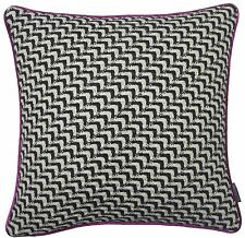 """WOOL BLEND KNITTED PINK BLACK WHITE FAUX SILK CUSHION COVER 18"""" - 45CM #ONOM"""