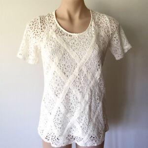 Women's cream TOP Size 10 lace diamond pattern short sleeve cami under layer