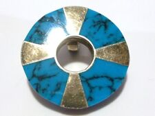 CHUNKY STERLING SILVER & TURQUOISE MEXICO MEXICAN CIRCLE PENDANT FOR NECKLACE