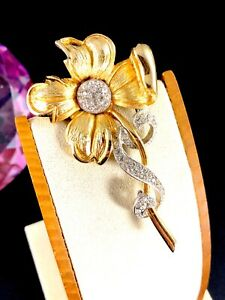 FABULOUS SIGNED LEDO MIXED METAL PAVE CRYSTAL RHINESTONE FLOWER FLORAL BROOCH