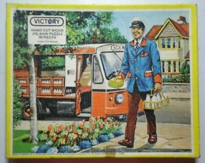 THE MILKMAN VICTORY VINTAGE 30 PIECE WOODEN JIGSAW PUZZLE 1977 *COMPLETE*