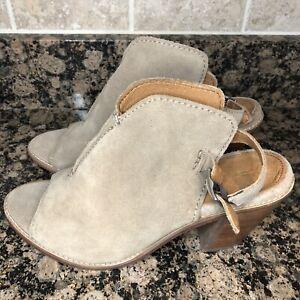 Frye Courtney Ash Tan Suede Heels Shootie Boot Open Toe Heel Sandals Sz 8 B