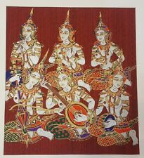 Dark Red Thai Art Silk 6 Gandharvas Painting Poster Print Home Decor Handmade