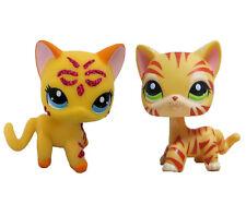 2pcs  Littlest Pet Shop Figure orange tiger  striped Shorthair Kitty & pink cat