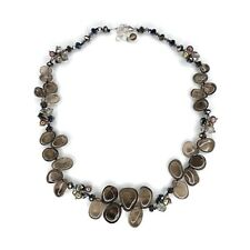 Smoky Quartz Free Form Necklace Sterling Silver Pearls Crystal Fringe 18""