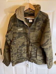 COLUMBIA Gallatin Range Heavy Wool Brown Camo Hooded Hunting Jacket Medium