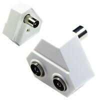 2 Port/Way TV Aerial Wall Splitter Adapter - White Female Coaxial Socket Y Split