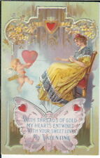 BB-108 With Threads of Gold, Valentine, Embossed, 1907-1915 Golden Age Postcard