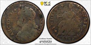 1787 Connecticut Colonial Copper Coin Draped Bust Left PCGS VG Env Damage